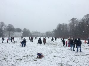Children Playing in the snow on Yelegin Island