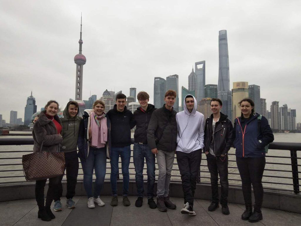 At the Bund in Shanghai with other volunteer teachers from our group (fourth from the right is me)