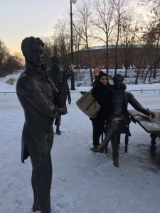 Snow covered statues of Russia's most decorated architects... and me.