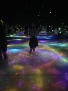This room was filled with water, to about knee depth, and images were projected on to the surface, including koi, flowers and random flashes. The walls were mirrors, so the room felt as if it never ended.