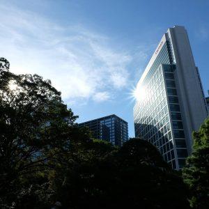 Sun reflecting of a skyscraper, taken in the Hamarikyu gardens, Tokyo