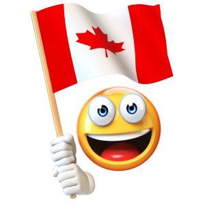 Emoji holding Canadian flag, emoticon waving national flag of Canada 3d rendering