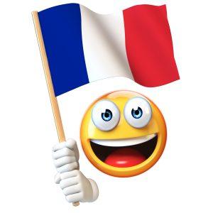 Emoji holding French flag, emoticon waving national flag of France 3d rendering