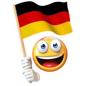Emoji holding German flag, emoticon waving national flag of Germany 3d rendering