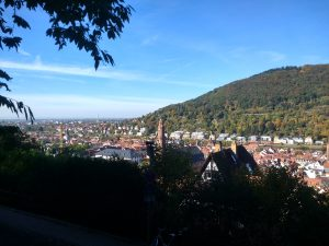 View of Heidelberg from the road up to the castle