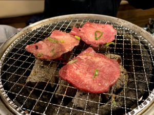 At the Yakiniku restaurant, cooking over the coals