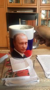 Nothing is more Russian than drinking chai from a Putin mug