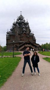 I took a day trip to the countryside with my friend Filippo and our Russian teacher Ekaterina and here we striking a pose in front of an ancient Orthodox church made entirely of wood. We later had a picnic in the forest and watched an Orthodox wedding. A great day, and lots of Russian spoken.