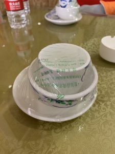 Unnecessary plastic packaging in a Chinese restaurant