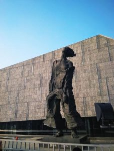 One of the heart-rending statues outside the Nanjing Massacre Memorial