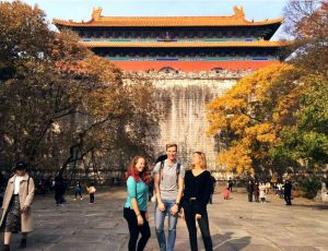 The rather impressive Ming tombs towering up in the background!