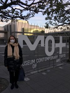 Standing in front to the Museum of Contemporary Art Tokyo.