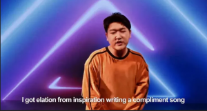 """Lyrics such as """"I get inspiration from writing a compliment song"""""""